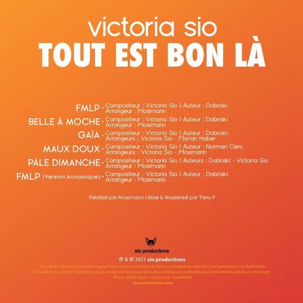 REF - UPC - Victoria Sio - Tout est bon là - BACK